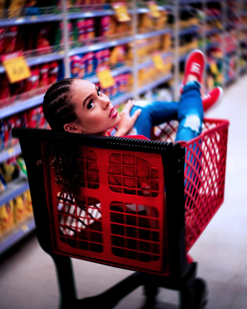 woman in a shopping cart