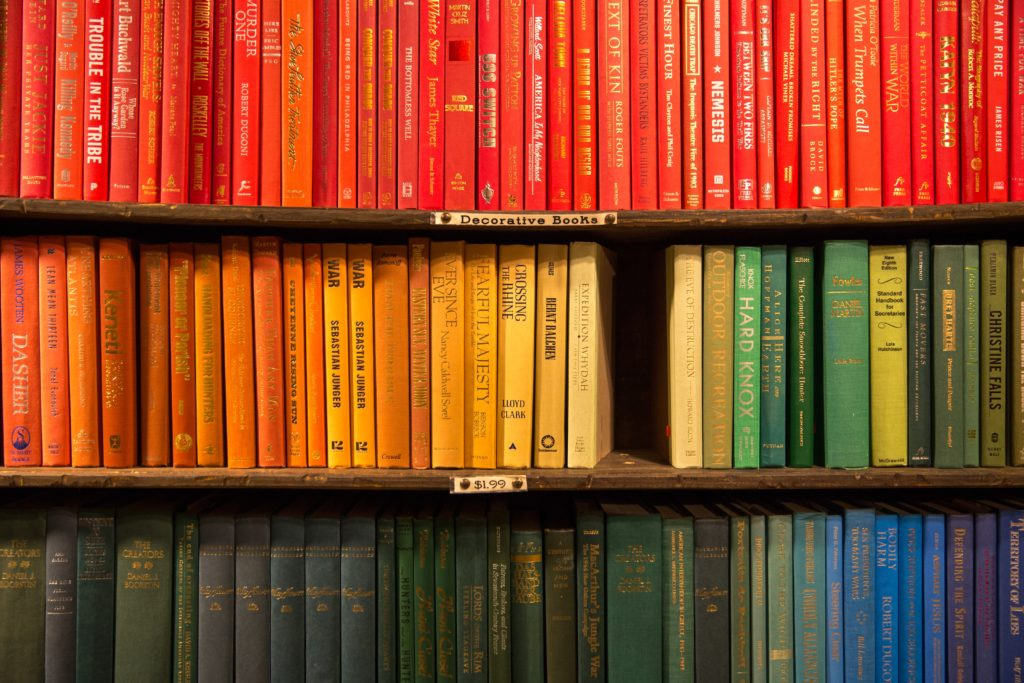 books sorted according to color