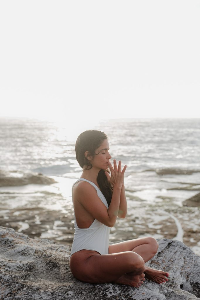woman meditating to relax